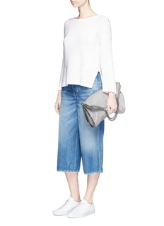 Vince Distressed denim culottes