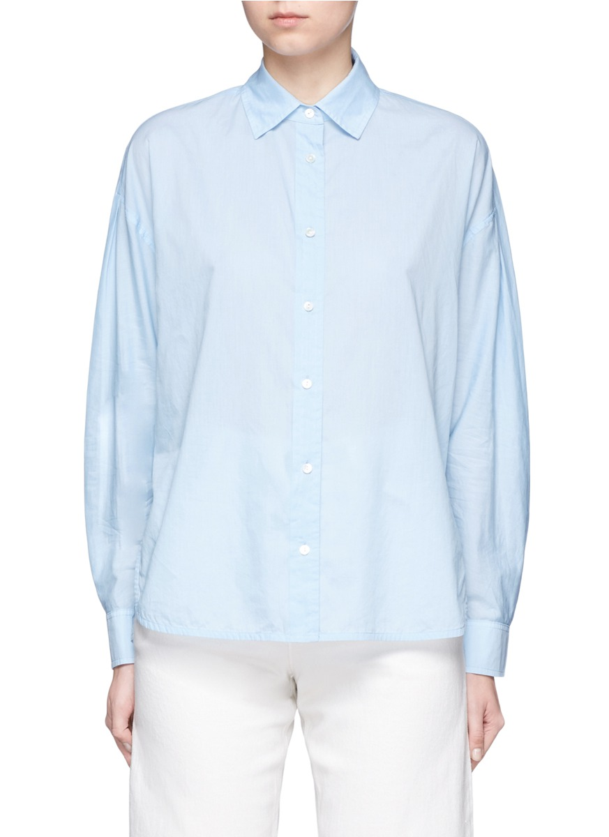 Inverted back pleat cotton lawn shirt by Vince