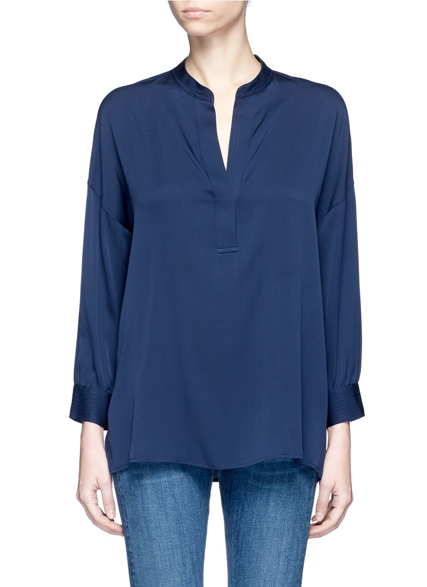Gathered back silk crepe blouse by Vince