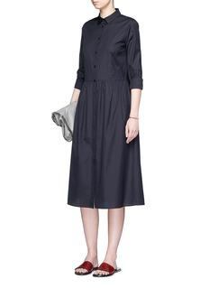 VinceGathered waist cotton poplin dress