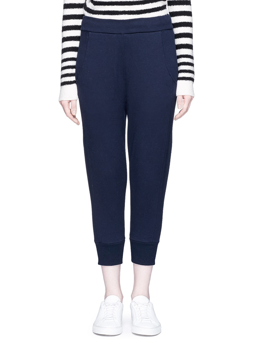 Drawstring waist French terry cropped track pants by Vince