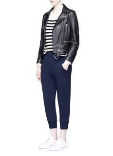 VinceDrawstring waist French terry cropped track pants