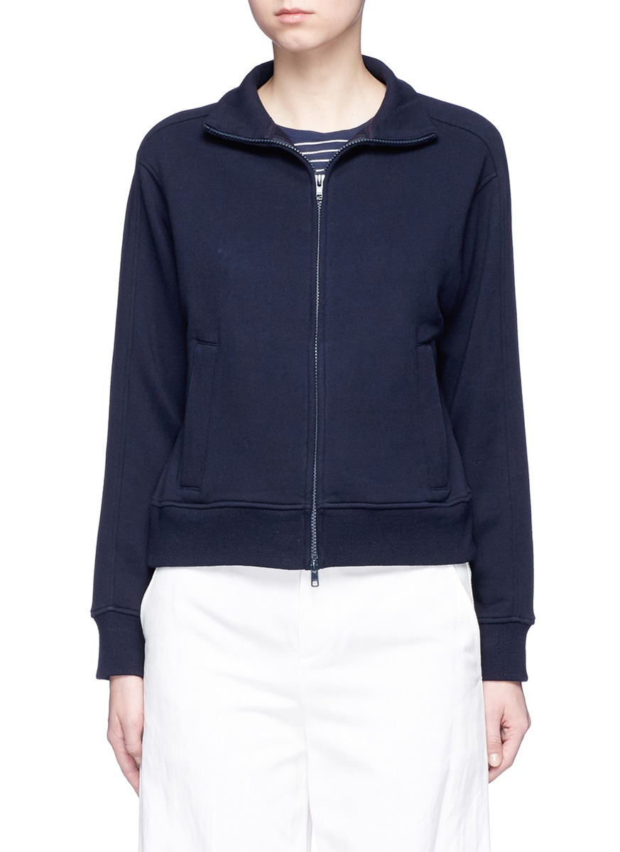 Cotton French terry cropped track jacket by Vince