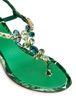 'Keira' banana leaf print jewelled patent leather sandals