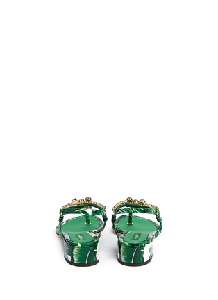 Back View - Click To Enlarge - Dolce & Gabbana - 'Keira' banana leaf print jewelled patent leather sandals