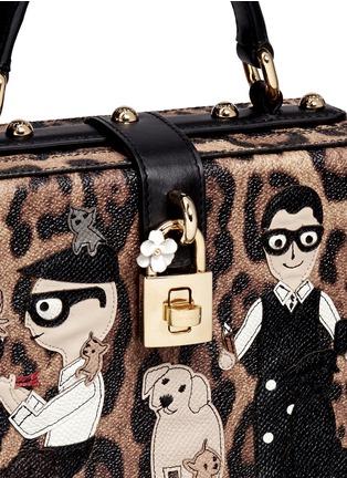 Detail View - Click To Enlarge - Dolce & Gabbana - 'Dolce Box' DG Family appliqué leopard print leather bag