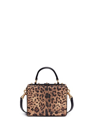 Back View - Click To Enlarge - Dolce & Gabbana - 'Dolce Box' DG Family appliqué leopard print leather bag