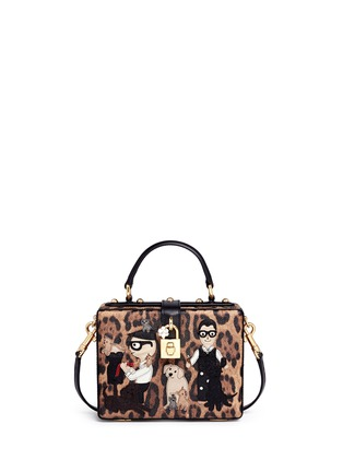 Main View - Click To Enlarge - Dolce & Gabbana - 'Dolce Box' DG Family appliqué leopard print leather bag