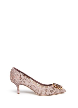 Main View - Click To Enlarge - Dolce & Gabbana - 'Bellucci' jewel brooch Taormina lace pumps