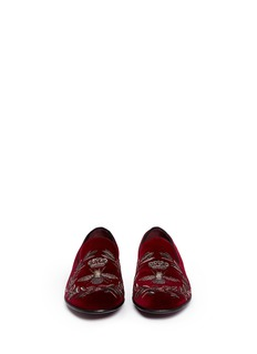 Dolce & Gabbana 'Milano' crown and bee crest velvet loafers