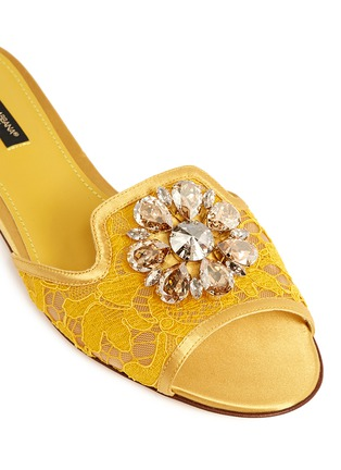 Dolce & Gabbana - 'Bianca R' jewelled Taormina lace slippers