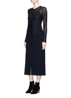 Lanvin Embellished stretch mesh top