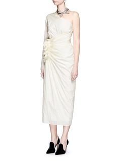 LanvinOne-shoulder ruffle silk blend taffeta dress