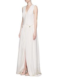 LanvinDrawstring waist satin skirt suiting fabric dress