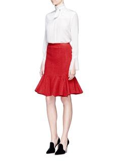LanvinGraphic intarsia kick flare knit skirt