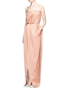 Lanvin Crinkled wool-silk sweetheart neck gown