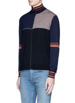 Colourblock wool-silk turtleneck cardigan