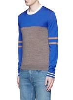 Colourblock stripe wool-silk sweater