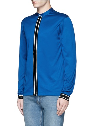 Front View - Click To Enlarge - Paul Smith - Band collar mercerised cotton shirt