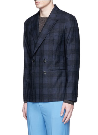 Front View - Click To Enlarge - Paul Smith - 'Soho' bouclé check plaid double breasted soft blazer