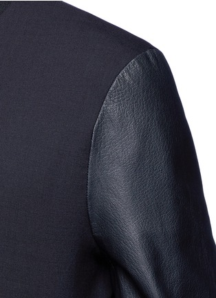 Detail View - Click To Enlarge - Paul Smith - Leather sleeve stretch hopsack bomber jacket
