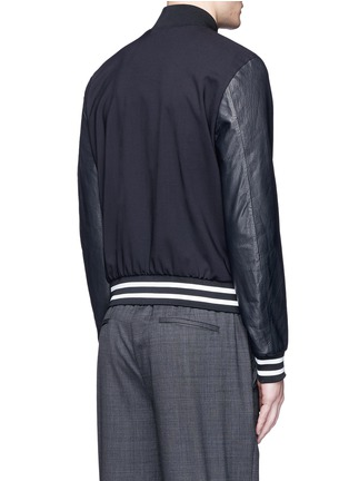 Back View - Click To Enlarge - Paul Smith - Leather sleeve stretch hopsack bomber jacket