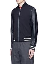 Leather sleeve stretch hopsack bomber jacket