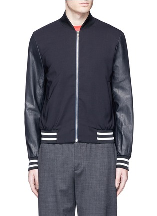 Main View - Click To Enlarge - Paul Smith - Leather sleeve stretch hopsack bomber jacket