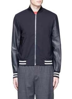 Paul Smith Leather sleeve stretch hopsack bomber jacket