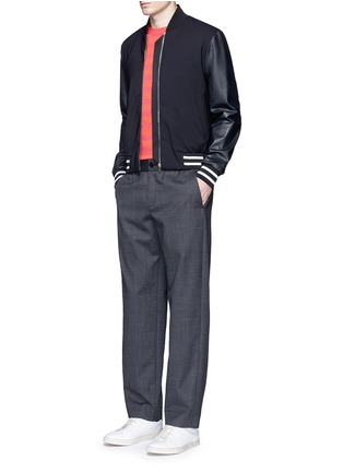Figure View - Click To Enlarge - Paul Smith - Leather sleeve stretch hopsack bomber jacket