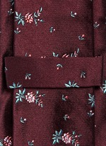 Floral embroidery silk tie