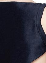 Cutout back stretch linen-cotton jumpsuit