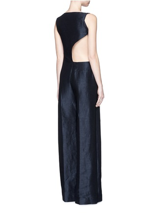 Figure View - Click To Enlarge - Esteban Cortazar - Cutout back stretch linen-cotton jumpsuit