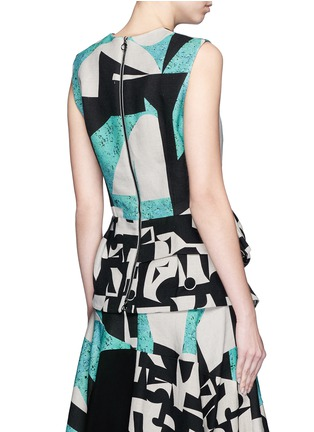 Back View - Click To Enlarge - Roksanda - 'Valmar' mélange colourblock peplum top