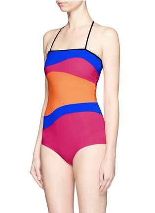 Figure View - Click To Enlarge - Roksanda - 'Emory' wave colourblock one-piece swimsuit