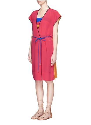 Front View - Click To Enlarge - Roksanda - 'Zavi' colourblock silk wrap tunic