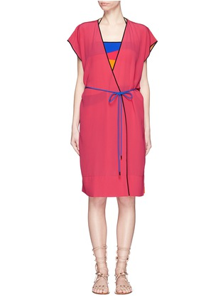 Main View - Click To Enlarge - Roksanda - 'Zavi' colourblock silk wrap tunic