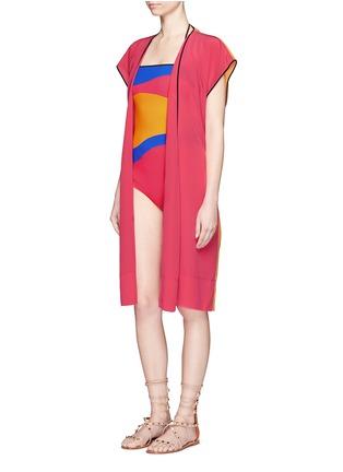 Figure View - Click To Enlarge - Roksanda - 'Zavi' colourblock silk wrap tunic