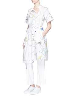 PORTS 1961 Sketch print cotton poplin shirt dress