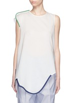 Contrast piping asymmetric hem sleeveless top
