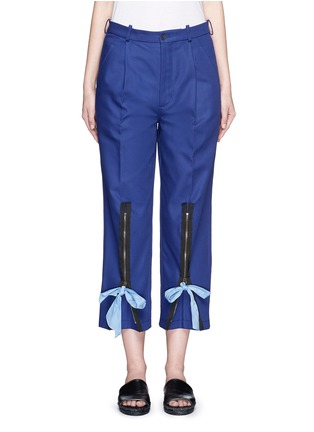 Main View - Click To Enlarge - Ports 1961 - Ribbon tie zip cuff cropped pants