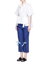 Ribbon tie zip cuff cropped pants