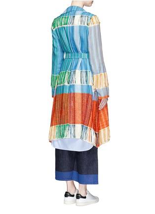 Back View - Click To Enlarge - Ports 1961 - Oversize lapel fringe jacquard knit sash coat