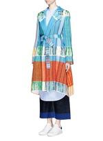 Oversize lapel fringe jacquard knit sash coat