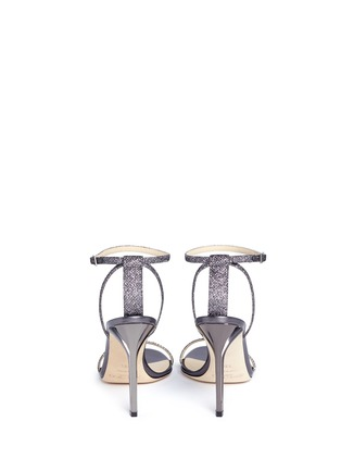 Back View - Click To Enlarge - Jimmy Choo - 'Minny 100' lamé glitter sandals