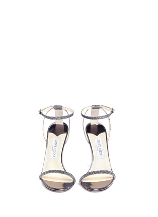 Front View - Click To Enlarge - Jimmy Choo - 'Minny 100' lamé glitter sandals