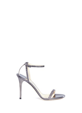 Main View - Click To Enlarge - Jimmy Choo - 'Minny 100' lamé glitter sandals