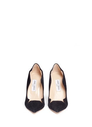 Front View - Click To Enlarge - Jimmy Choo - 'Tamika' mirror leather gusset wavy suede pumps