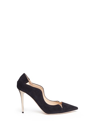 Main View - Click To Enlarge - Jimmy Choo - 'Tamika' mirror leather gusset wavy suede pumps