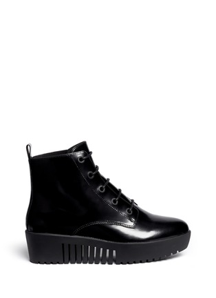 Main View - Click To Enlarge - Opening Ceremony - 'Grunge' lace-up leather platform ankle boots
